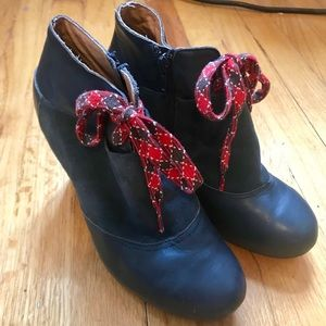 Anthropologie Blue Leather & Suede High Heel Boots